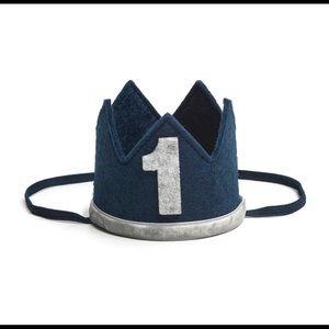 Boy First Birthday Crown - Navy/Gray